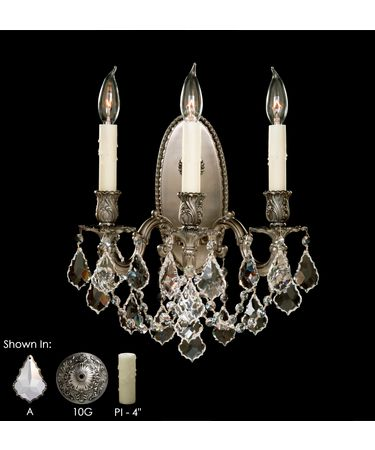 Shown in Antique Silver finish, Clear Precision Pendalogue crystal and Pale Ivory Wax Candle Cover accent